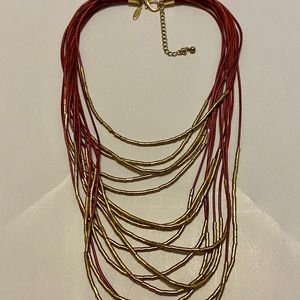 Cute Gold and Maroon Layered Necklace
